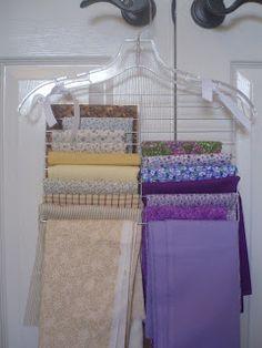 organ idea, organizing ideas, hanger, fabric storage, diy crafts