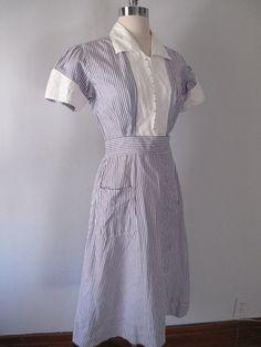 1940s Nurses Uniform Stripes
