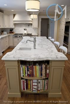 kitchens, countertop edg, kitchen photos, dream kitchen, marbles, kitchen design, islands, cookbook shelf, kitchen remodel