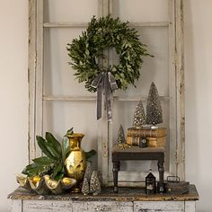 I love this long window, table, wreath....My DIL has a long wondow like this!! So pretty!!