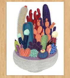 Crystal and Cactus print