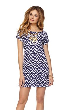 Palmer Short Sleeve T-Shirt Dress in Bright Navy Get Your Chev On