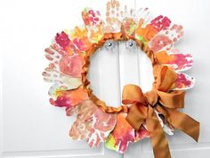 Leaf Handprint Wreath #kiwicratestudio