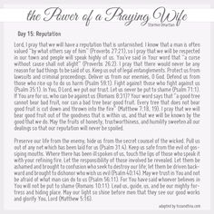 Praying for Your Husband and Your Children (Day 15)from Stormie Omartian