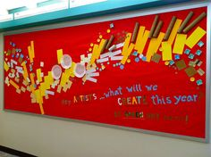 Back To School Art room bulletin board idea using recycled items to create abstract, graphic art.