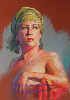 """Portrait of a woman wearing an Olive Head scarf.  Started from the live model using pastel (Nupastel) on brick red colorfix paper.  19"""" x 27"""".  By Kristina Laurendi Havens"""