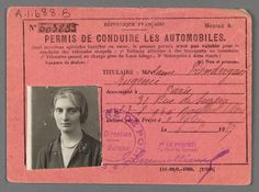 Eugénie Prendergast's French driver's license at Williams College Museum of Art, Prendergast Archive and Study Center