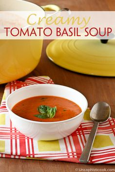 Creamy Tomato Basil Soup Recipe | Unsophisticook.com -- this lovely creamy tomato basil soup is very similar to my favorite side at First Watch!