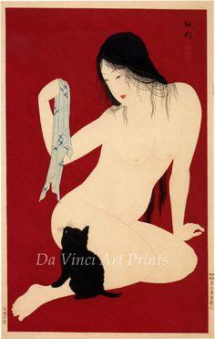 Nude Playing with Kitten, c.1900. Hiroaki