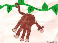 art crafts, footprint art, monkey theme, art project, footprint crafts, handprint art, hand prints, craft ideas, kid