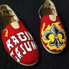 Custom hand painted University of Louisiana at Lafayette Toms. I did these MYSELF and have decided to offer services to anyone interested... $40 for art, shoes not included. Facebook me if interested!!!