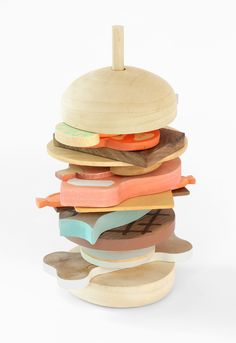 Matteo Baratto - wooden burger stack toy. man, this makes me wish i were still young enough for it to be acceptable to play with something like this. . .