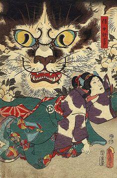 Utagawa Kunisada (1786 - 1865) - Chat sorcière de Okabe [Cat witch of Okabe]