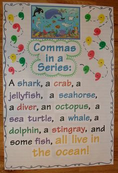 Comma in a series, nouns, detail anchor charts
