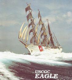 "US Coast Guard Barque ""Eagle"" full & Bye with a bone in her teeth"