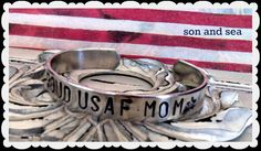 Proud US Air Force Mom hand stamped cuff bracelet by by sonandsea, $18.00