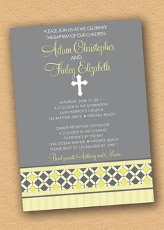 Yellow Diamond Band - Twins Baptism / Christening Invitation