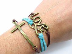 Love bracelet   karma bracelet cross bangles  leather by TingGift, $7.99