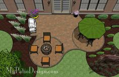 small patio ideas with fire pit | Patio with a Fire Pit and Circle Pattern | Patio Designs and Ideas