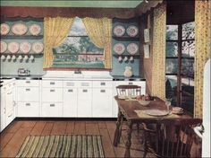 This ad was published in American Home magazine. The color scheme of white, yellow, and green is very calm and the lack of clutter is very attractive. Unlike many Early American interiors, there no busyness — the simplicity here is unusual.    So neat....