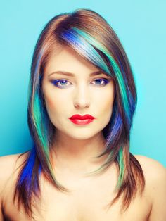 Brilliant Blue Turquoise Purple Highlights on Brown Hair