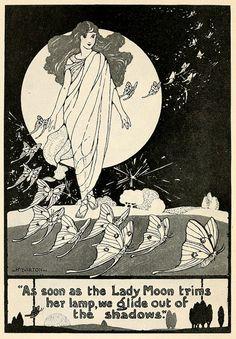 the Lady Moon ladi moon, lady moon, fairies, art, paper moon, star, lamp, illustr, roads