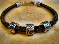 """***The perfect Fathers Day Gift**** Distressed Black Thick Leather Bracelet with Tibetan Silver Accents & Clasp """"FREE SHIPPING""""   by LeatherDiva, $18.00 handcraft jewelri, thick leather, black thick, father day, perfect father, silver, distress black, fathers, leather bracelets"""