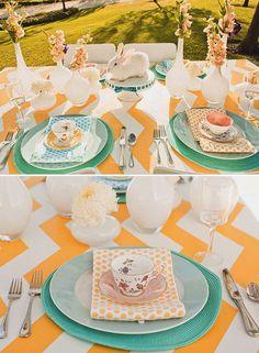 decor wedding, table settings, chevron patterns, wedding themes, color schemes, brunch party, art table, chevron wedding, tabl decor