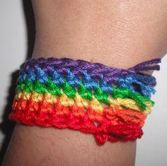 Simple Rainbow Crochet Bracelet Pattern  @Kristi Toffoli