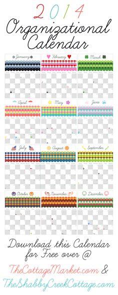 A free 2014 printable organizing calendar