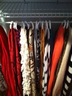 Scarves hanging in closet with shower rings