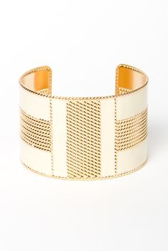Cream and Gold Enamel Cuff