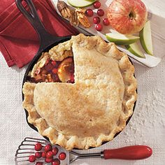 Cast-Iron Skillet Desserts  | Cranberry Apple Pie | MyRecipes.com
