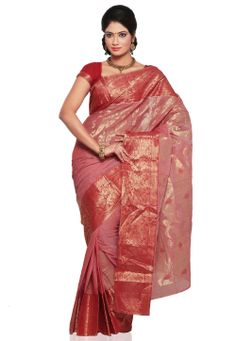 Light #Red Cotton Tant #Saree with Blouse @ $80.00