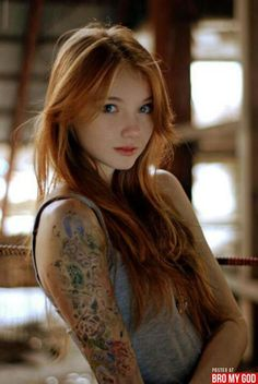 girl tattoos, hair colors, ginger, red hair, strawberry blonde, sleeve tattoos, redhead, redhair, tattoo ink