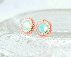 Mint peach coral ivory stud earrings -