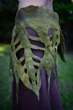 RESERVED for J J - Not For Sale - Felt Rain Forest Woodland Nymph Pixie Fairy Elven Leaf Pocket Belt OOAK
