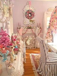 A shabby chic pink Christmas