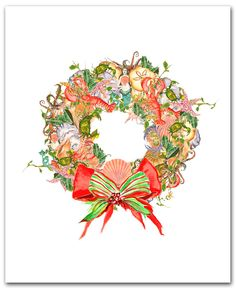 Christmas wreath cards, sea wreath, boxed set of 10.  nautical Christmas. shells.oyster.crab.octopus. mermaids. lobster. christmas wreath. $12.50, via Etsy.