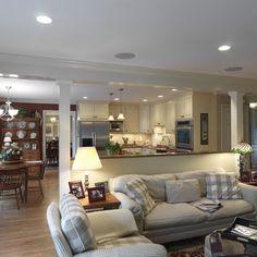 dining rooms, open floor plans, living rooms, open spaces, living room designs, family rooms, open kitchens, room dividers, kitchen designs