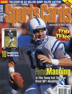 RARE 2000 SPORTS CARDS JANUARY ISSUE PEYTON MANNING INDIANAPOLIS COLTS