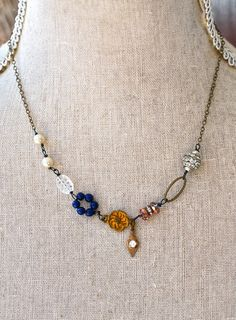 Elizabeth. boho,glass beaded,rhinestone,charm necklace. tiedupmemories favorit necklac, upcycledrepurpos jewelri