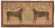 "Realized Price: $13035   Vibrant American folk art hooked rug, 19th c., depicting two large stags standing beneath floral branches within a red border, 65"" x 35 1/2""."
