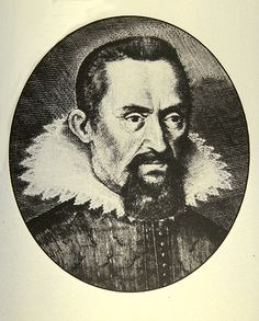 """Johannes Kepler (1571-1630). The German mathematician and astronomer who first understood how the planets move. Using the great Tycho's data, Kepler found that they moved in ellipses around the Sun, with more distant planets taking longer to complete one orbit. Copernicus proposed a sun-centered system, but Kepler made it credible. (Picture credit: Johnnes Kepler Gesammelte Werke , C. H. Beck, 1937)    ©Mona Evans, """"Kepler - His Life"""" http://www.bellaonline.com/articles/art36947.asp"""