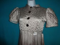 Silver-grey satin 1920′s robe with bodice quilting & small train - $125