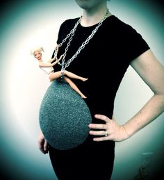 Pregnant Womans Halloween Costume. I genuinely applaud her! miley cyrus, balls, god, friends, halloween costumes, barbie, maternity clothing, maternity shirts, wreck ball