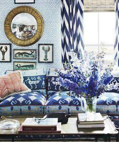 China Seas Ikat II sofa and Aqua IV wallpaper. Alan Campbell Zig Zag pillow. Quadrille Tashkent drapes. From the home of John Knott on Deer Island. decor, summer hous, interior design, living rooms, mixing patterns, color, live room, blues, curtain