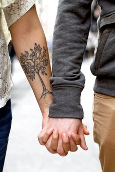 #Cute #Couple #HoldingHands #Tattoo #Tree #Forearm #Tattoos #Simple #TreeRoots #Roots #Leaves #Girl