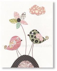 nurseri print, nurseri theme, birdi friend, appliqu