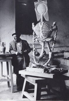 Pablo Picasso in his Studio (Atelier) Photo by Edward Quiin